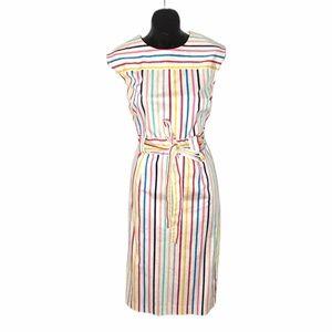 New York & Company Striped Belted Midi Dress